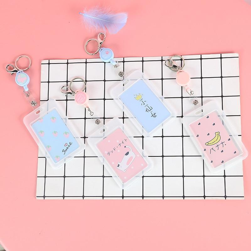 Mu Xi Qi Creative-Elastic String Card Holder Cute Cartoon Students Transparent Card Holder New Style IC Card Bus Protective Case