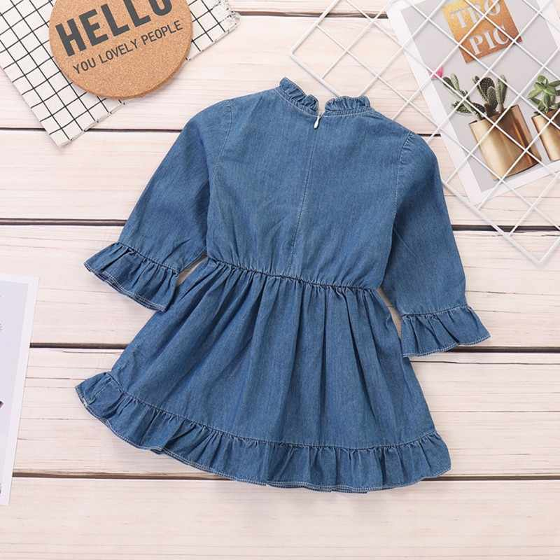 Autumn Casual Dress Baby Girls Long Flare Sleeve Denim Dress Kids Toddler Pageant Sundress