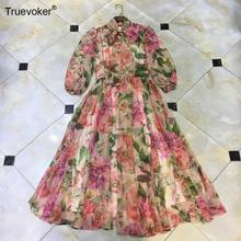 Holiday-Dress Flower-Printed Half-Sleeves Midi Elegant Women's Summer Truevoker Charming