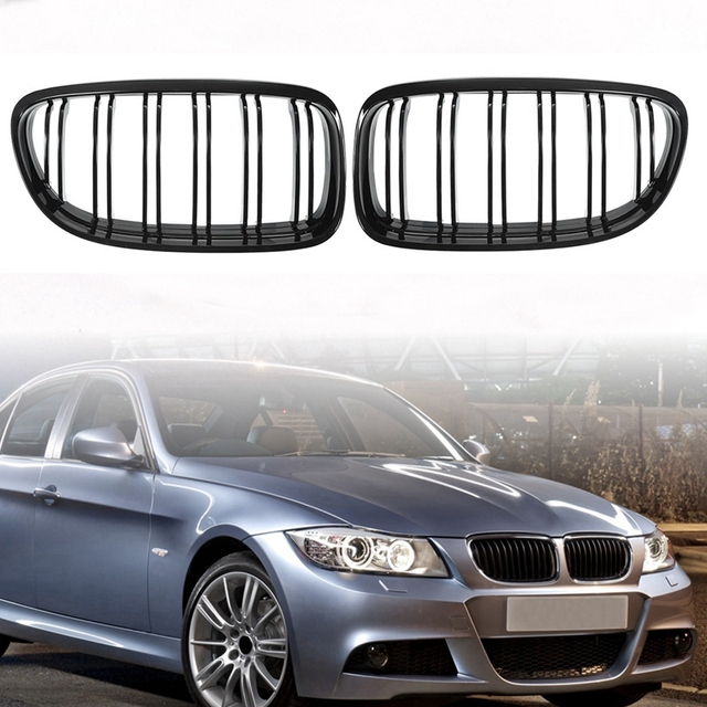 1 Pair Car Front Grille Gloss Black Inlet Grille for BMW E90 LCI 3-Series Sedan/Wagon 2009 - 2011