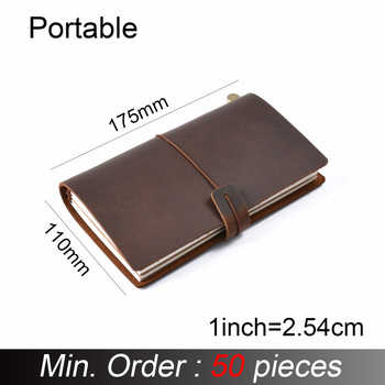 50 pieces / lot Portable 175x110mm Genuine Leather Notebook Handmade Vintage Cowhide Diary Journal Sketchbook Planner - DISCOUNT ITEM  0% OFF All Category