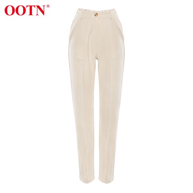 OOTN Casual High Waist Khaki Pants Women Autumn Winter Brown Ladies Office Trousers Zipper Pocket Solid Female Pencil Pants