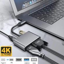 USB C 4k Typ c zu Adapter VGA USB 3,0 HDMI-kompatibel Audio video Converter PD 87W schnelle ladegerät für Macbook pro Samsung s9 s10