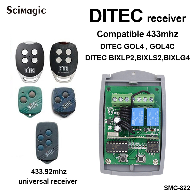 12-24V DC 433mhz DITE Receiver Gate Control Remote Garage Door Fixed Rolling Code 433.92mhz Remote Control Receiver