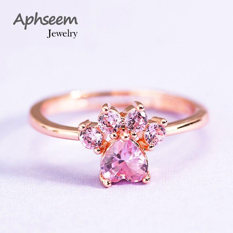 Bonito dos desenhos animados gato garra abertura anéis ajustáveis pés de gato rosa ouro cobre anel de casamento para as mulheres zircão dedo anéis jóias presente