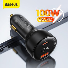 Baseus PD 100W USB Car Charger Quick Charge 4.0 QC4.0 QC3.0 Type C USB AUTO Charger Fast Charging For iPhone Xiaomi Mobile Phone