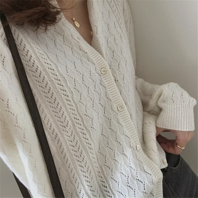 Ailegogo New 2020 Autumn Winter Women's Sweaters Korean Style Button Cardigan casual Hollow out Knitted Cardigans SWC1750 2