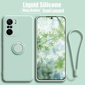 Image 1 - יוקרה רך נוזל סיליקון מקרה עבור Xiaomi Mi 11 Poco X3 F3 10T Lite Ultra Redmi הערה 9 10S K40 K30 פרו טבעת מחזיק מעמד כיסוי