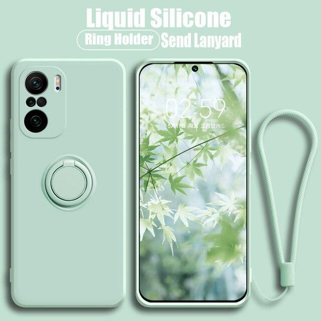 יוקרה רך נוזל סיליקון מקרה עבור Xiaomi Mi 11 Poco X3 F3 10T Lite Ultra Redmi הערה 9 10S K40 K30 פרו טבעת מחזיק מעמד כיסוי
