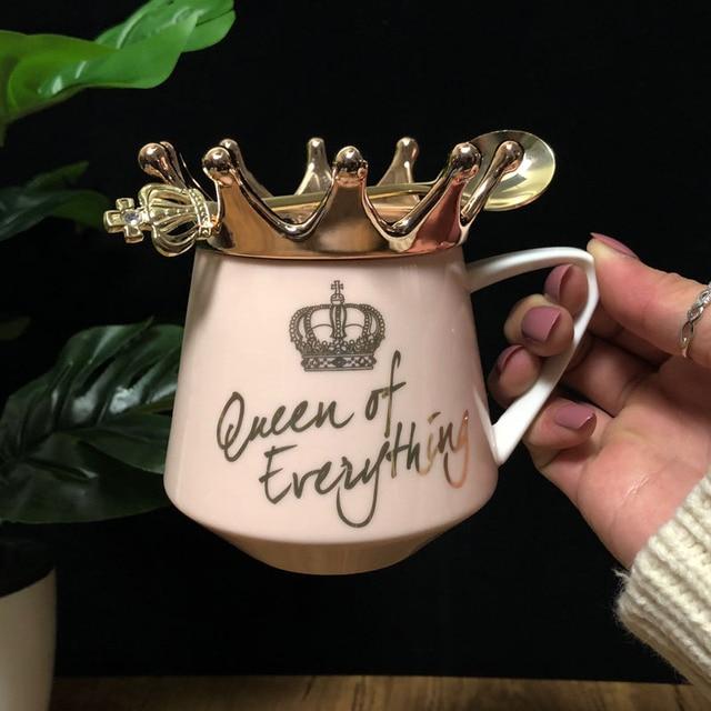 Nordic Wind Pink Crown Cup Ins Mug Spoon Coffee Mug Creative Ceramic Water Milk for Breakfast Cups and Mugs Girl Gift Cute 1