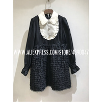 Ruffled Puffy Fold stitching Thick twill silk Dress Lapel Long Sleeve Elegant Dress Autumn Winter Dress High Quality dress