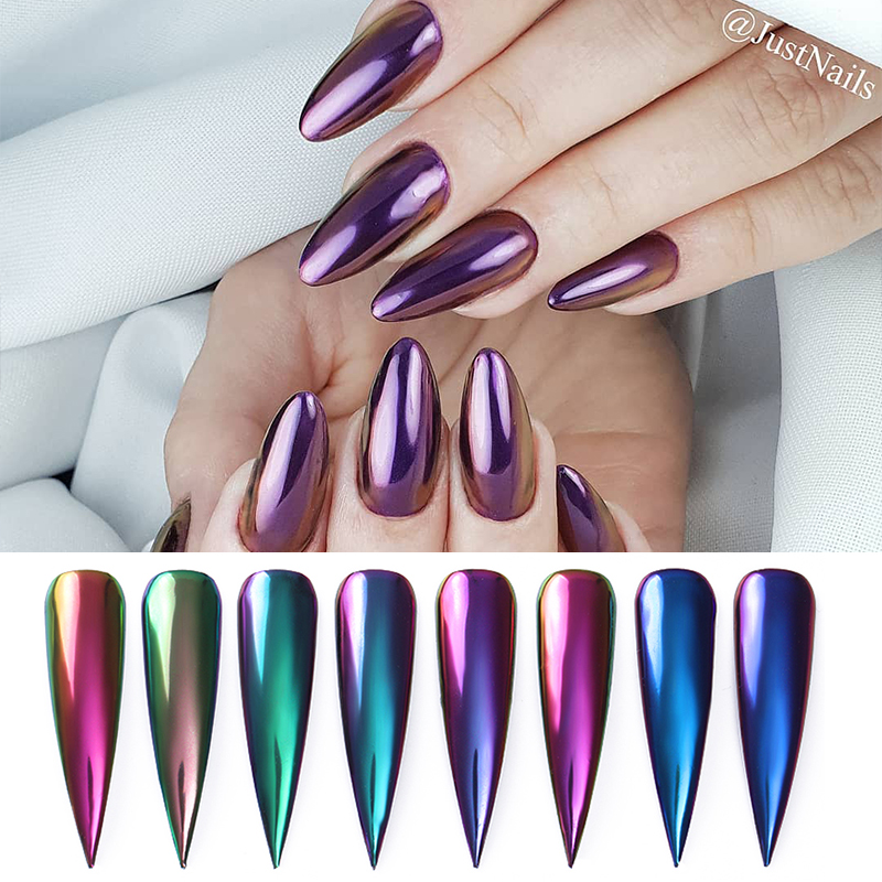 0 2g Box Chameleon Mirror Nail Glitters Powder Colorful Auroras Effect Nail Art Chrome Pigment Decoration 8 Colors Available in Nail Glitter from Beauty Health
