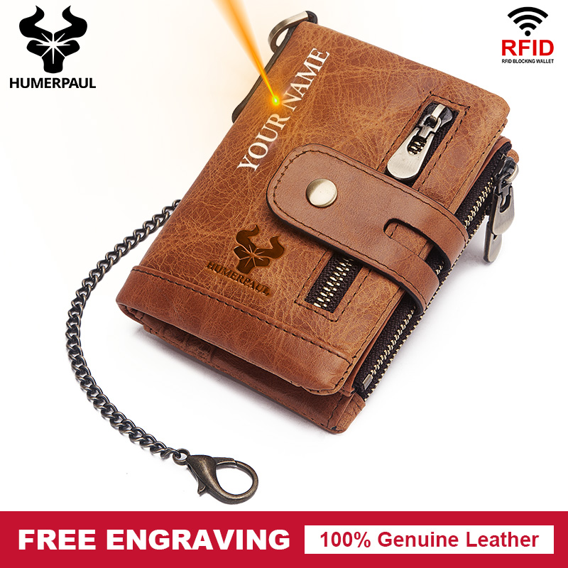 Fashion Men Wallet Genuine Leather Short Chain Wallets Male Multifunctional Cowhide Coin  Purse Mini Card Holder Free Engraving