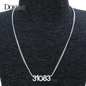 Image 4 - DOREMI คริสตัลจี้ตัวอักษรสร้อยคอผู้หญิงเครื่องประดับที่กำหนดเองที่กำหนดเองชื่อสร้อยคอ Zirconia iced OUT จี้