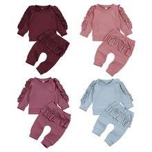 0-24m bebê recém-nascido menina outono conjunto de roupas manga longa sólido algodão macio calças superiores 4 cores rosa vermelho azul rosa vermelho