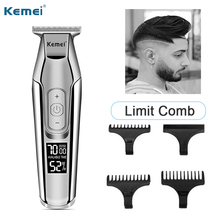 цены Kemei hair trimmer electric hair clipper men beard trimmer hair clippers LCD hair cut machine electric profession clippers 3