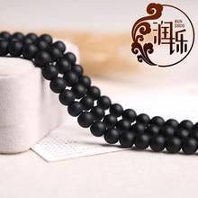 Pedra natural preto maçante polonês matte hematite contas redondas diy charme pulseira contas para fazer jóias 15