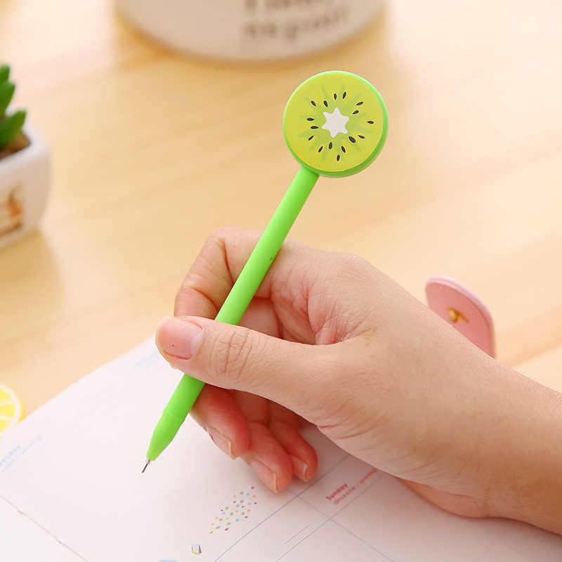 1 stücke Kawaii Obst Drop Gel Stift Schwarz Blau Tinte Gel Stift Schule Bürobedarf Geschenk Schreibwaren Papelaria Escolar