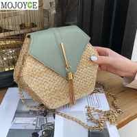 Nueva moda hexágono de paja de estilo Mulit + bolso de pu Bolsos De Mujer verano ratán bolsa tejida a mano playa bolsa femenina