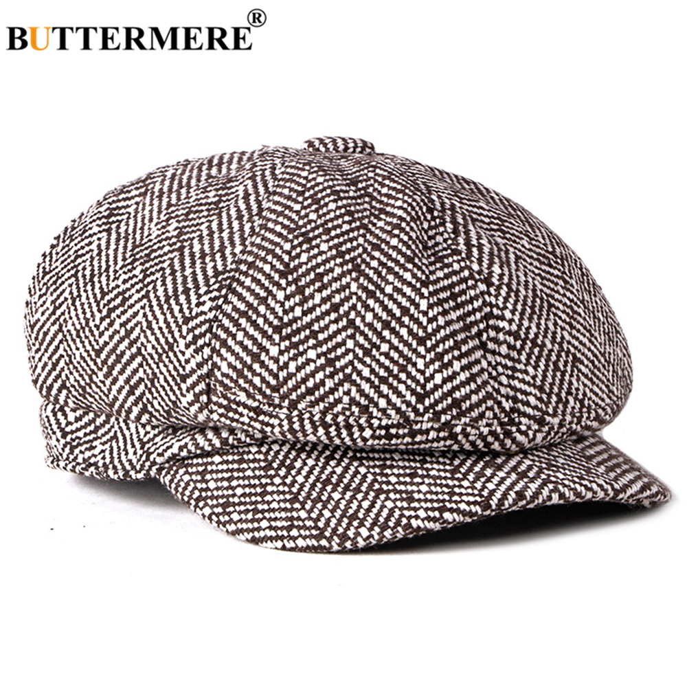 BUTTERMERE Newsboy Cap for Men Women Cotton Ascot Cap  Black White Stiped British Style Casual Octagonal Unisex Flat Cap