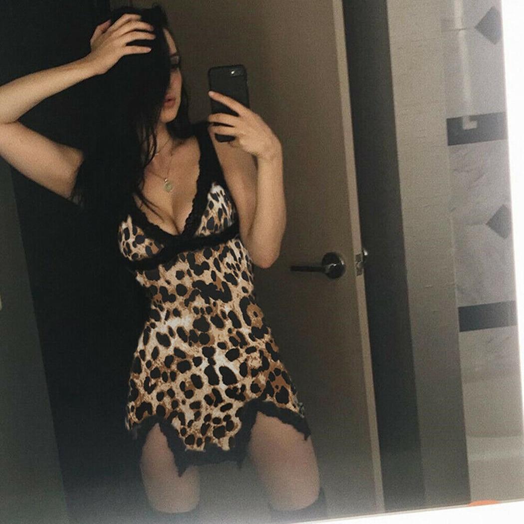 Sexy Hot Women Leopard Printed Lace Night Dress Lingerie V Neck Night Gown Summer Sleepwear Spaghetti Strap Nighty Sleep Wear 3