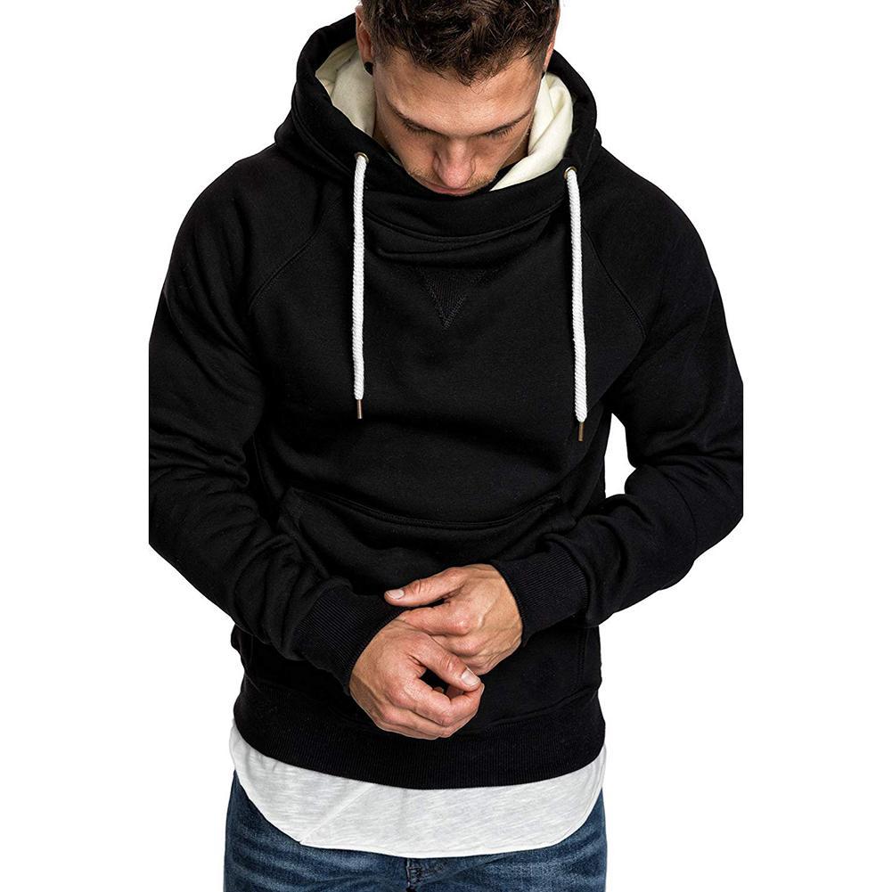 Men Solid Color Loose Long Sleeve Pocket Sport Drawstring Hooded Sweatshirt 2020 Sudaderas Hombre Material Fleece Free Shipping