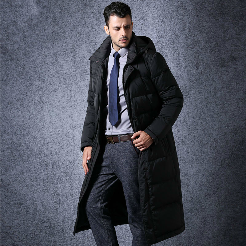 Long Men's Duck Down Jacket Men Winter Coat Plus Size Thick Business British Coats Male Parka Casaco Masculino KJ660 S