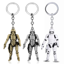 цена Star Wars Keychain Cool Metal Jewelry Storm Trooper Darth Vader 3D Robot Pendant Key Chain Keyring Car Key Holder Men Chaveiro онлайн в 2017 году