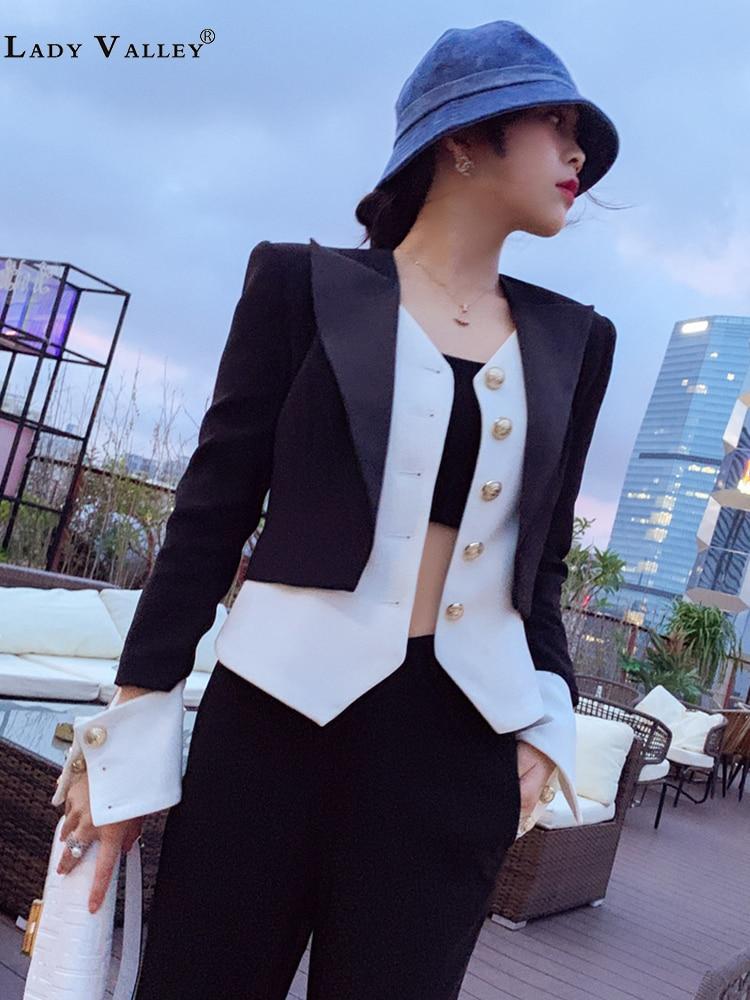 Boutons de couleur contrastée noir et blanc faux costume deux pièces personnalité costume veste femmes printemps et automne mode hauts sauvages