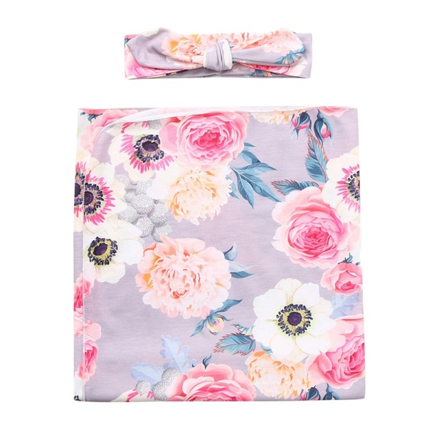 Floral Swaddle with Headband -Eliza