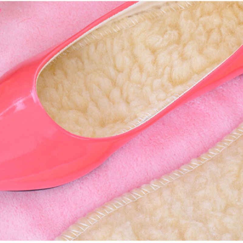 1 par 27 cm mujeres hombres invierno cálido espesar plantillas de vellón zapatos plantillas