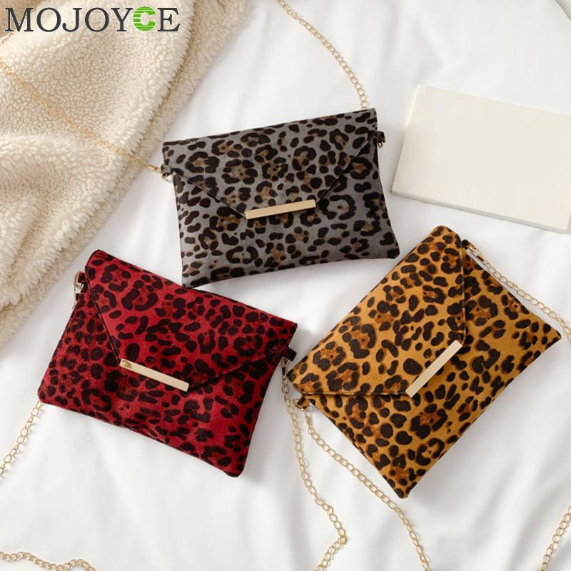 Leopard Envelope Clutches For Women Shoulder Bags Fashion Foldable Vintage Chain Pu Crossbody Bag For Women's Clutch Bag