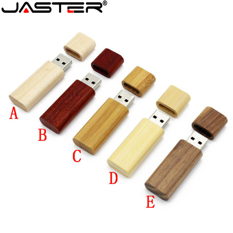 JASTER Wooden Bamboo USB Flash Drive Pen Driver Wood Chips Pendrive 4GB 8GB 16GB 32GB 64GB Memory Card USB Gift 1PCS Free Logo