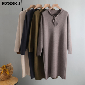 2020 autumn winter thick sailor collar maxi sweater dress women female loose casual long sweater dress