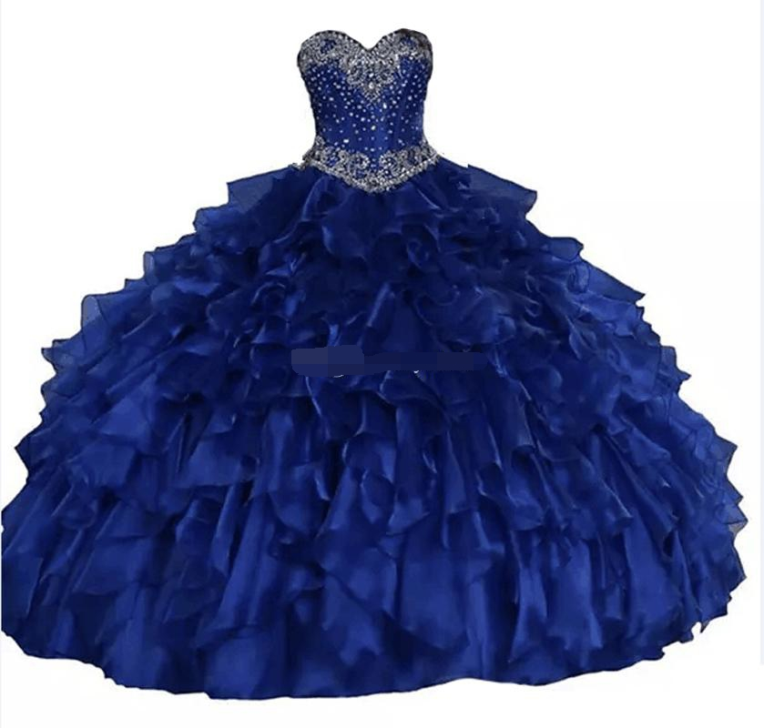 2019 Real as Image Sweetheart Ball Gown Quinceanera Dresses Glittering Crystals Beading Ruffles Lace Up Sweet 16 prom dress
