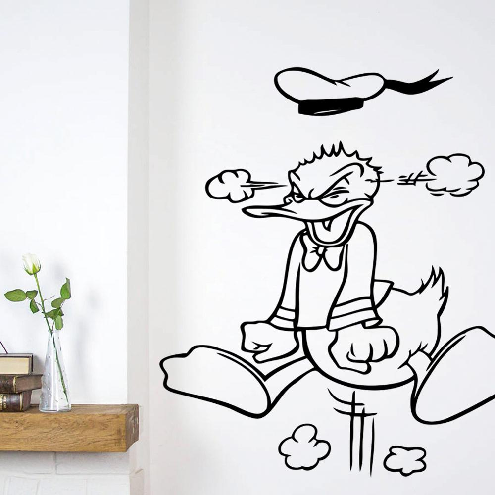 Disney Creative New Angry Donald Duck Custom Kids Name Baby Wall Stickers For Kids Rooms Home Decoration Wall Stickers Wall Stickers Aliexpress
