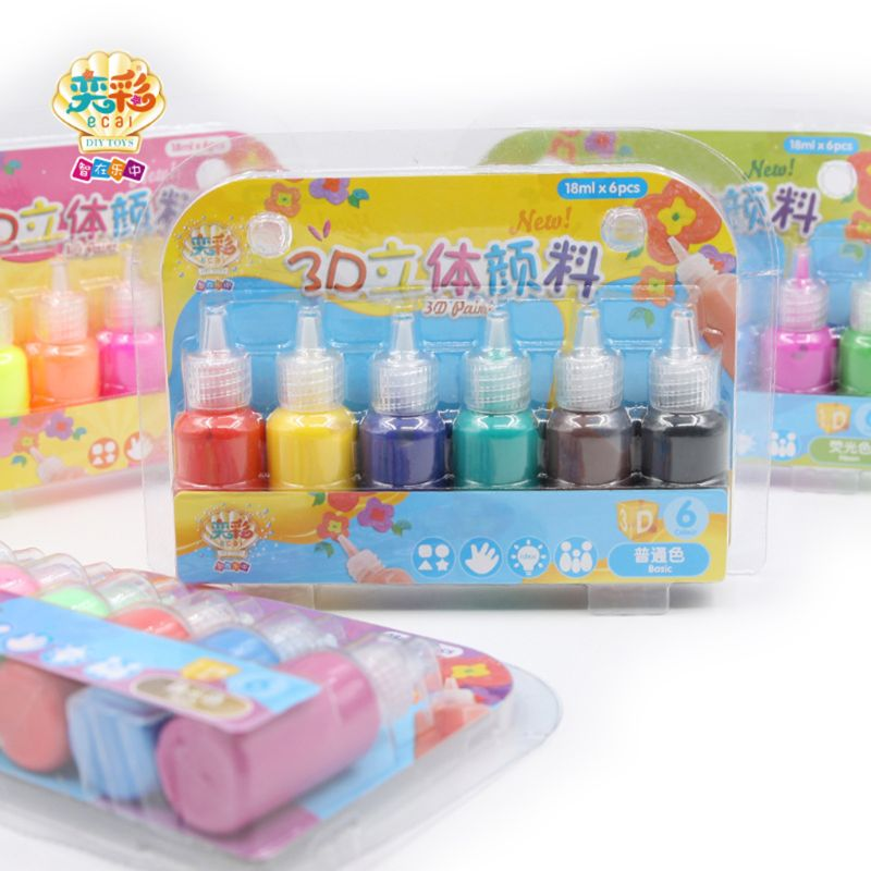 Kids 3D Acrylic Paint Pigment Set For Children Graffiti DIY Painting Drawing Tools Art Supplies 6 Colors