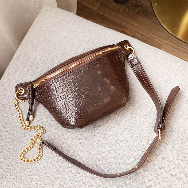 2019 New Women Chest Bag Crocodile Leather Shoulder Bag Girls Causal Waist Belt Bags Female Alligator Cross-body Pack Fanny Pack