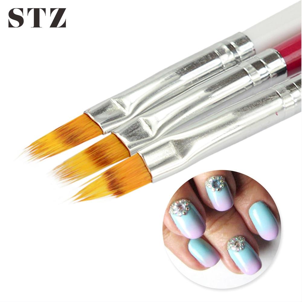 STZ 1pcs Nail Brush Ombre Soft Gradient Effect Pen Red/Black/White Manicure Tools For UV Gel Polish Nail Art Brush #285