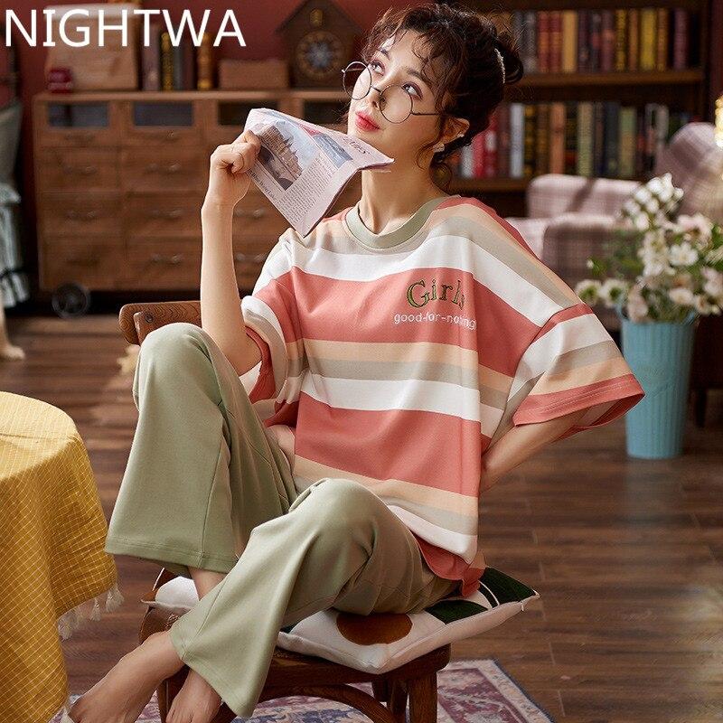 Пижамный комплект NIGHTWA для женщин, новинка 2021 года, весенние Хлопковые женские пижамные комплекты, длинные брюки, одежда для сна, костюмы, По...