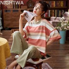 Conjunto de pijamas para as mulheres 2021 nova primavera algodão conjuntos de pijamas das calças compridas ternos de pijamas da menina casual outerwear roupas