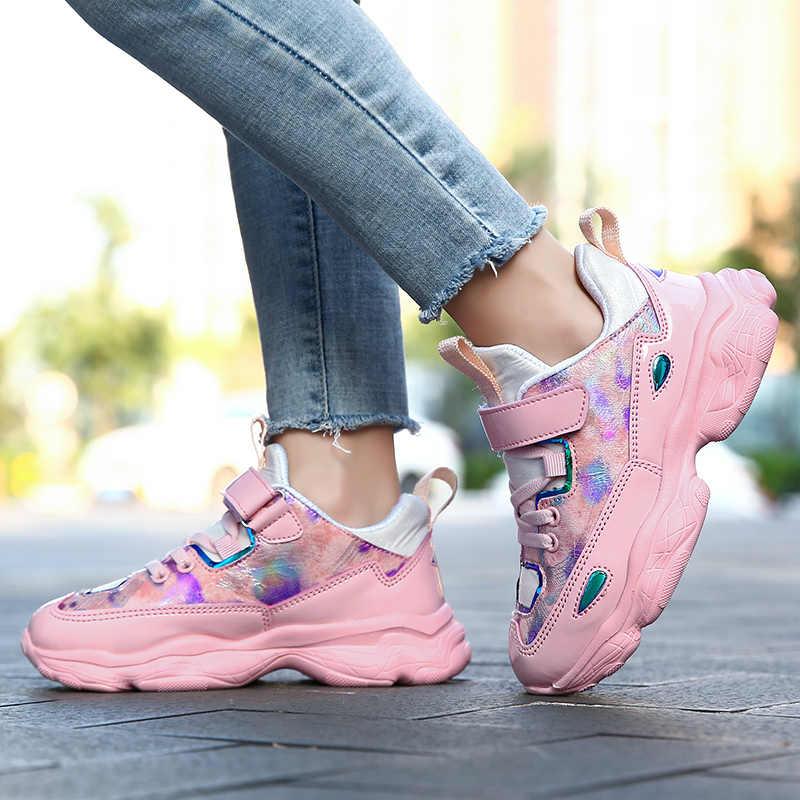 Yeni Trend rahat çocuk kız ayakkabı moda pembe kızlar için Sneakers ucuz çocuk kız yürüyüş Sneakers marka çocuk koşu ayakkabısı