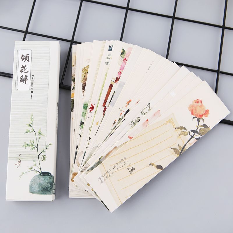 30pcs Chinese Style Paper Bookmarks Blue And White Porcelain Painting Cards Retro Beautiful Boxed Bookmark Commemorative Gifts