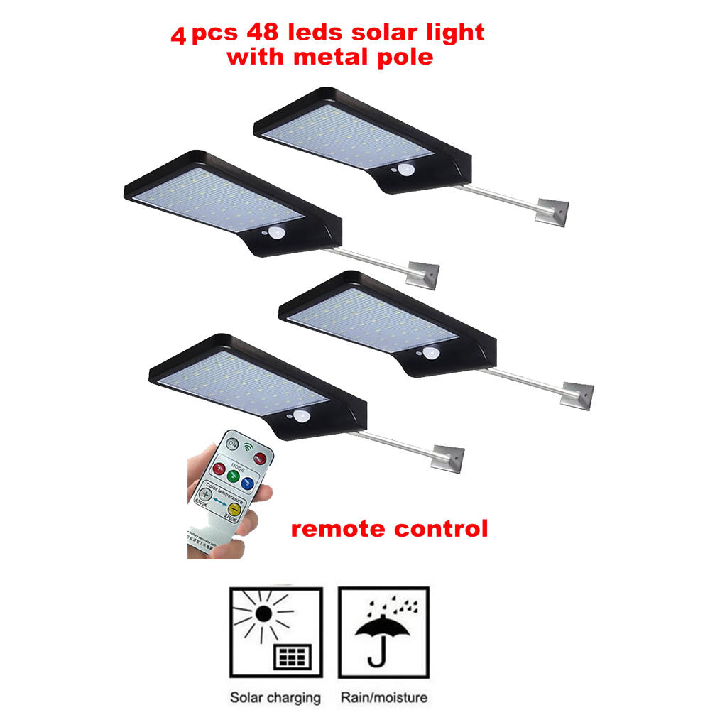 2/4pcs Solar Outdoor Garden Street Light PIR Motion Sensor Wall Lamp 48 Leds Solar Panel Power Lamp Waterproof Patio Path Night