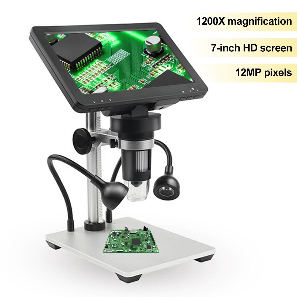 Adequado para Placas de Circuito Microscópio com 7 Microscópio Digital Ampliação Polegada Tela hd Ensino Observando Antiguidades 1200x