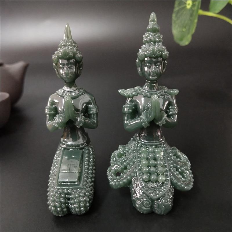 Meditation Buddha Statue Thailand Buddha Sculptures Figurines Man-made Jade Stone Ornament For Home Garden Flowerpot Decoration