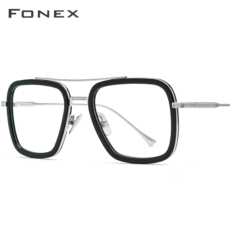 FONEX Pure Titanium Acetate Tony Stark Eyeglasses Frame Men Myopia Optical Edith Glasses Prescription Iron Spider Eyewear 8512