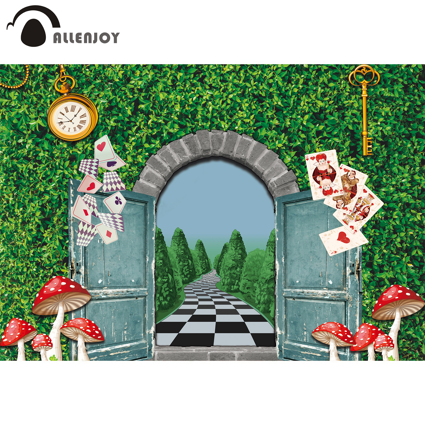 Allenjoy in wonderland photography Backdrops Cartoon Alice fairy tale Background for photo studio chidlren birthday party decor