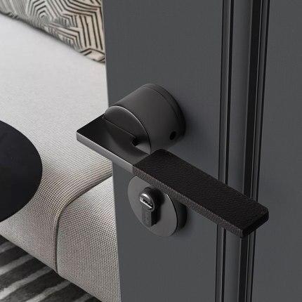 1 Set European Style Leather + Zinc Alloy Door Handle Lock  Interior Bedroom/Bathroom Lock Anti-theft Home Room Safety Door Lock