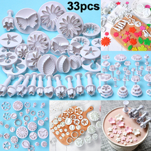 33 Pcs/set Cake Decorating Tools Fondant Plunger Cutters Tools Cookie Biscuit Cake Mold Flower Set Baking Accessories